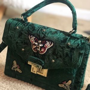 Aldo emerald green suede handbag